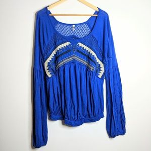 Free People | Embroidered Lace Boho Long Sleeve